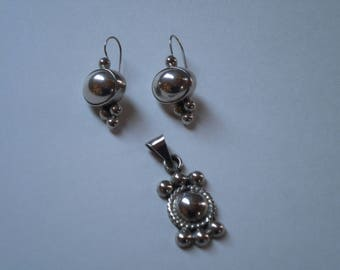 Sterling Silver Pierced Earrings and Pendant Set