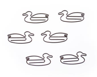100 Count Bag Cute Duck Paper Clips Gift - Available in BROWN or WHITE