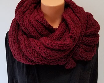Dark Red Hand Knit Infinity Scarf