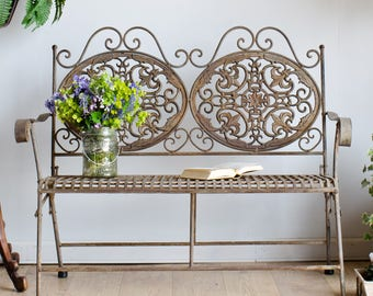 French Antique 19th Century Wrought Iron Folding Garden Bench for Outdoor or Indoor Use
