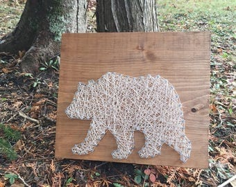 String Art - Bear String Art - Woodland Nursery Decor - Baby Shower Gift - Father's Day Gift  - Hunting Decor - House Warming Gift