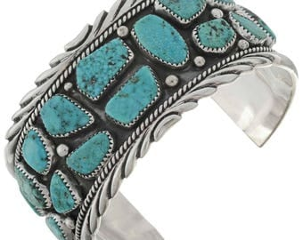 Natural Free Form Turquoise Mens Cuff Navajo Sterling Silver Bracelet