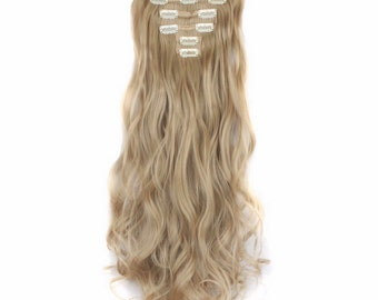 "Blonde Clip In Hair Extensions 24"" Cool Ash Blonde Hair Extensions Human Remy Virgin Brazilian Hair Weave Double Weft Halo Tape In Wigs Wavy"