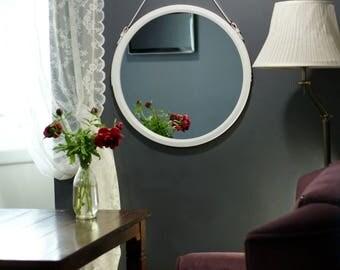 """White Round Mirror """"Monaco"""" / Strap Wall Mirror / Wall Hanging Mirror / Leather Mirror / Loft Style Belt Mirror / Unique Vanity Mirror"""