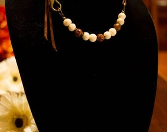 Bone stone with Suede Lace cording necklace