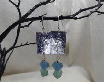 Etched Nickel Silver and Recycled Glass Earrings