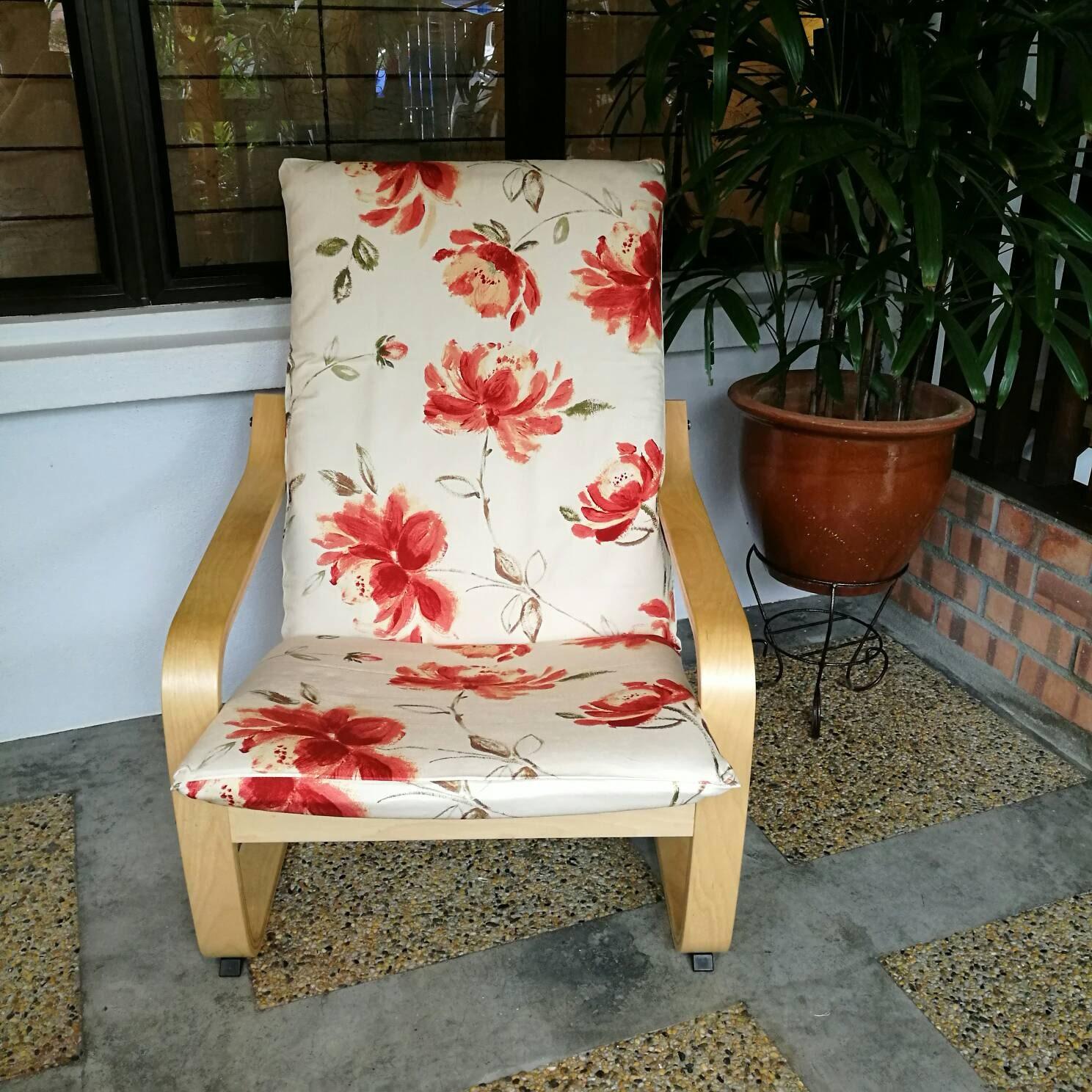 Ikea Poang Chair Cushion Cover Floral Print