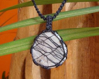 Spiderweb Jasper//Macrame Necklace//Crystal Jewellery//Love