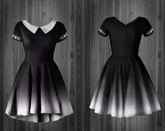 Ombre moon dress boarding school gothic collar doll  phases  gray ash