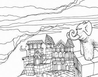 """Black and white illustration """"Temple to the elephants"""""""