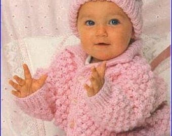 Baby Knitting Pattern - Vintage Pattern - Chunky Knitting Pattern - Baby Jacket Knitting Pattern - Chunky Knitting -  Baby Patterns - P10