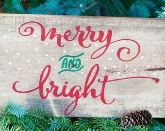 Merry and Bright Wood Sign, Merry and Bright, Christmas Wood Sign, Merry Christmas, Christmas Wooden Sign, Christmas Decor, Holiday Decor