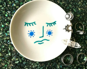 Moon face dish- ring dish - trinket dish - original design - hand painted gift -jewellery storage - ring organiser - jewellery dish