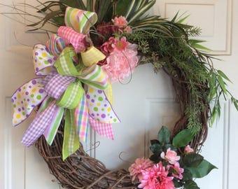 Sale Spring Door Wreath, Reduced Artificial Wreath , Front Door Wreath, Spring Decor, Spring Floral Wreath, Porch Wreath, Summer wreath