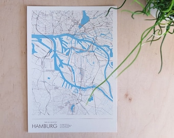 Poster Hamburg Port (approx. 21 x 30 cm, A4), poster - postcard, Hamburg card, Hamburg-illustration, Hamburg-souvenir