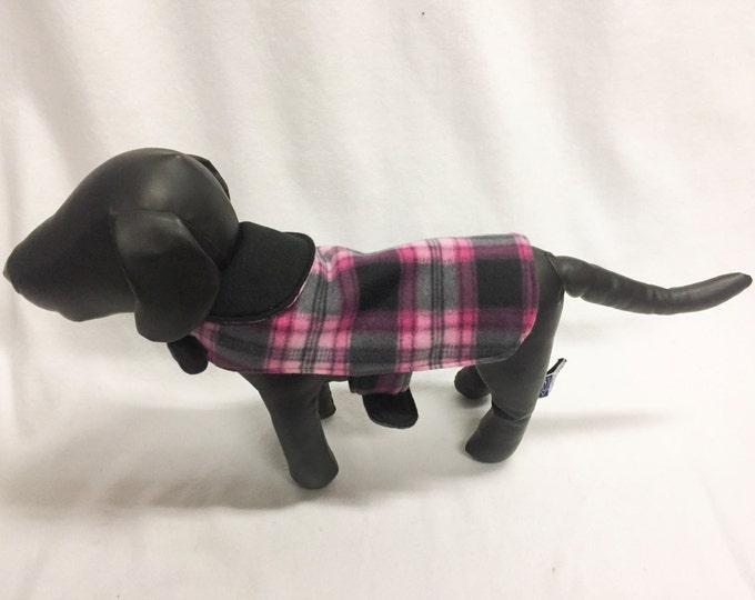Black/Pink Plaid Dog Coat 1028
