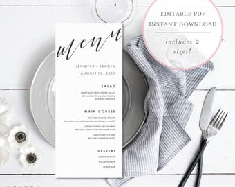 Menu Template. Custom Menu. Wedding Menu Printable. Editable Wedding Menu. Calligraphy Menu. Wedding Menu Template. Wedding Menu. (SH)