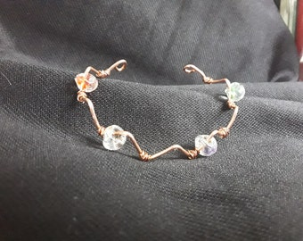 Beaded Zigzag Copper Wire Bracelet