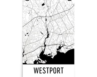 Westport CT Map, Westport Art, Westport Print, Westport Connecticut Poster, Westport Wall Art, Map of Westport CT, Westport Gift, Poster