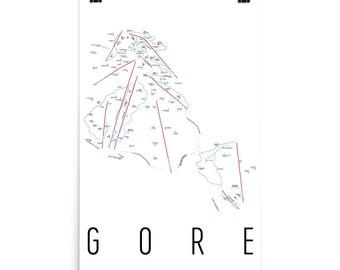 Gore Mountain Ski Map Art, Gore NY, Gore Trail Map, Gore Ski Resort, Upstate New York, Adirondack, Adirondack Decor, Ski Art, Ski Decor