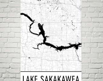 Lake Sakakawea North Dakota, Lake Sakakawea ND, North Dakota Art, North Dakota Decor, Lake Map, Sakakawea ND Lake Art, North Dakota Map