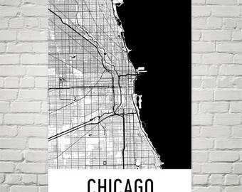 Chicago Map, Chicago Print, Chicago Art, Chicago Illinois Art Poster, Chicago Wall Art, Map of Chicago IL, Chicago Gifts, Map Print, Decor
