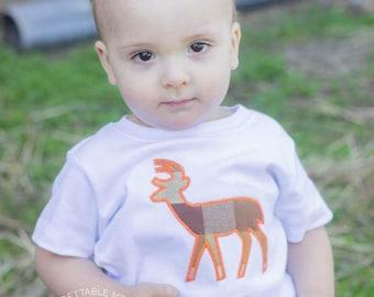 Deer shirt, baby boy deer onesie, embroidered deer onesie, baby boy onesie, boy shirt with deer