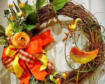 Rooster Kitchen Decor, Rooster Wreath, Country Wreath Perfect for Your Home or Kitchen