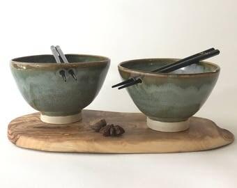 Handmade noodle bowls set of two  Chopstick bowl rice bowl uk shops