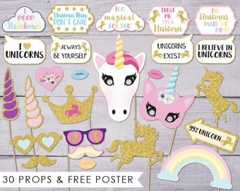 Unicorn Photo Booth Props, Unicorn Party, Photobooth Props, Unicorn Photo Props, Unicorn Photobooth, Photobooth Poster, Digital Download