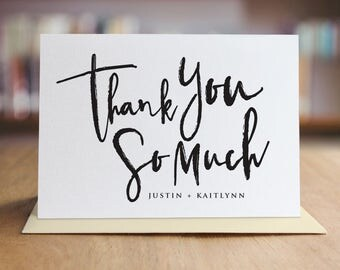 Personalized Thank You Note Card Set /  Calligraphy Thank You Cards / Folded Shimmer Note Cards - T300
