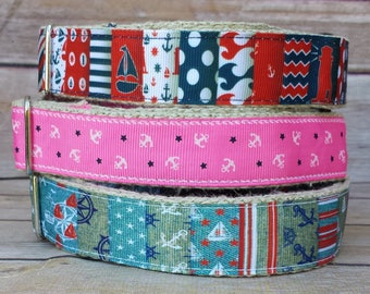 Nautical Dog Collar / Anchors Dog Collar / Hemp Dog Collar / Compass Collar / Sails Collar / Boat Collar / Summer Dog Collar / Dots Collar