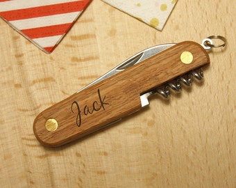 Personalized Knife, engraved pocket Knives, personalization with your name, custom gift for him, multi tool, 3 accessories, unique present