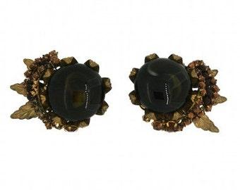 Miriam Haskell 1950s Rhinestone & Brown Glass Vintage Earrings