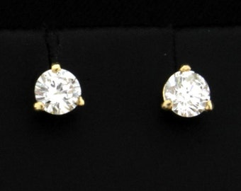 1/2 ct TW Diamond Stud Earrings in 14K Yellow Gold Martini Settings