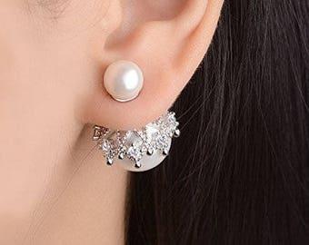 Pearl Earrings Wedding, Double Pearl Earring, Bridal Earrings Studs, Front Back Earrings, Double Ball Earring, Pearl Stud Earrings,