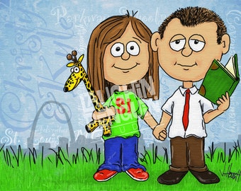 Custom Digital Caricature with one or two people with a few extra elements