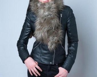Faux fur scarf, fake fur wrap scarf, faux animal fur stole, vintage style wrap scarf, retro style scarf, fake fur stole