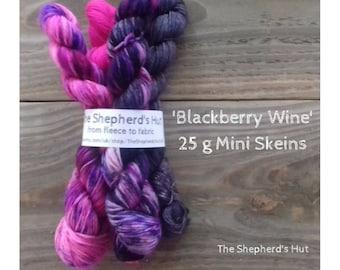 Superwash Merino/Nylon 80/20 Sock yarn Minis 4 x 25 g in 'Blackberry Wine' colour.