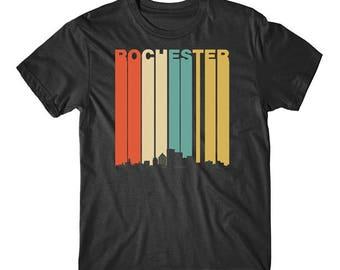 Vintage Retro 1970's Style Rochester New York Skyline T-Shirt