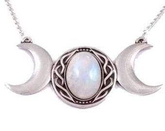 Triple Moonstone Celtic Goddess Pendant