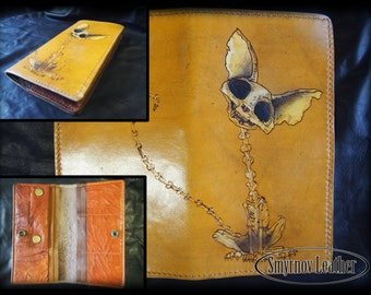 leather wallet yellow cat skeleton