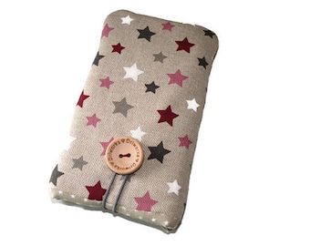 Fabric case iPhone 7 , Protective iPhone 6 pouch, iPhone SE case, iPhone 5 sleeve, iPod Touch 6g case, Stars fabric, sister birthday gift