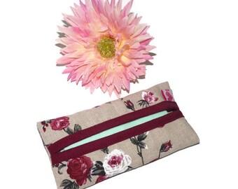 Floral Tissue holder / Kleenex Holder / Linen Kleenex cover / Travel tissue case roses / Kleenex sleeve