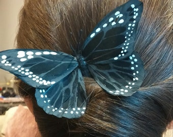 PIN Butterfly black of feathers for the hair
