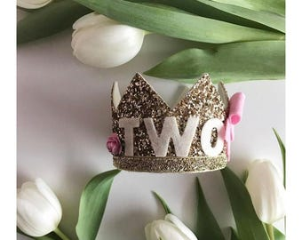 Two crown gold glitter birthday photoprop cakesmash party
