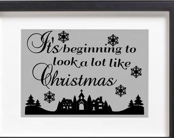 It's beginning to look a lot like Christmas vinyl decal with town scene and snowflakes