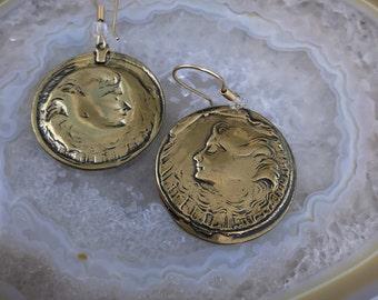 Golden Coin Earrings- Vintage