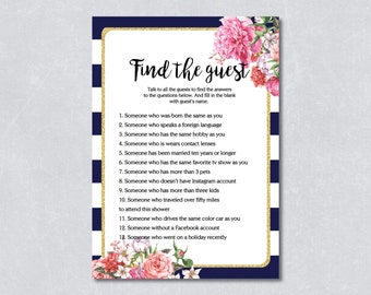 Find the guest game / Nautical bridal shower game / Navy blue / Floral / Gold Glitter /  DIY Printable / INSTANT DOWNLOAD