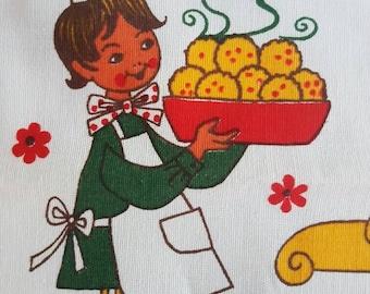 Vintage GERMAN Teatowel with Recipe for Bacon Dumplings - Bright - Linen - Retro